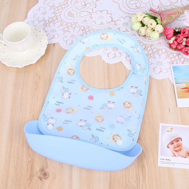 Waterproof Baby Bibs with food Catcher
