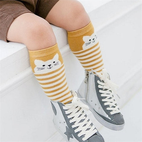 Image of Animal Pattern Anti-slip Knee High Socks 2 Pairs