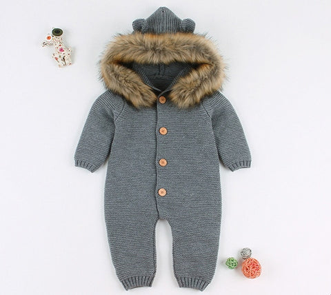 Winter Knitted baby romper