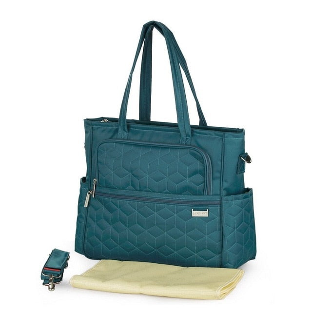 Oxford Plaid Maternity bag Turquoise