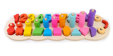 Image of Children Wooden Educational Game of Numbers and Shapes