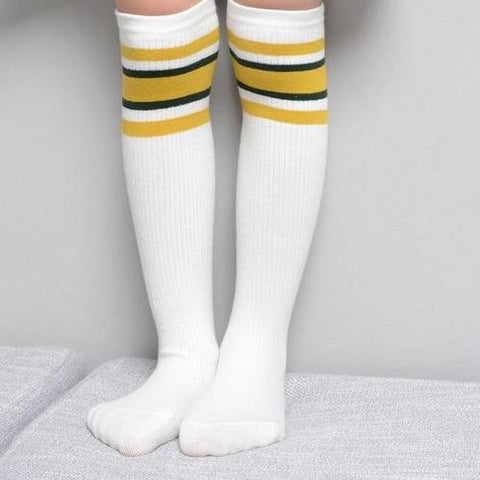 Image of Kids Striped Sports Knee High Socks