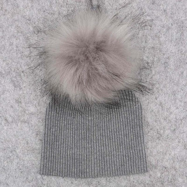 Baby Pom Pom Thick Winter Beanie