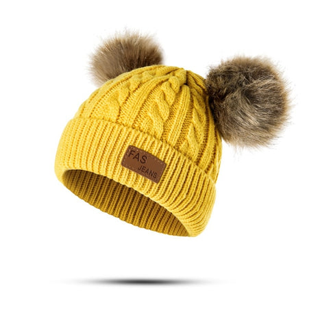 Image of Knitted Baby Pom Pom Thick Winter Beanie