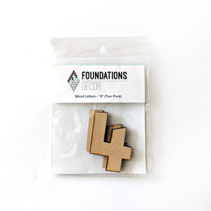 Wood Numbers - ''4'' (Two Pack)