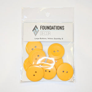 Buttons - Yellow, 8 Large