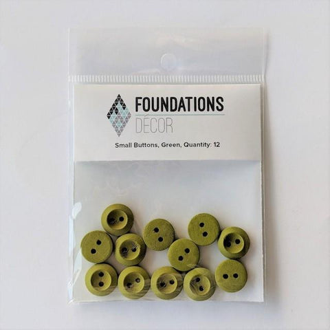 Buttons - Green, 12 Small