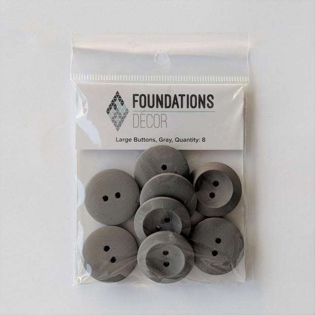 Buttons - Gray, 8 Large