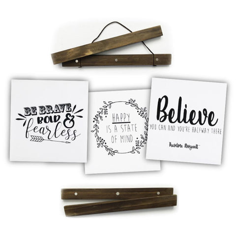 "Click Sticks  - 17"" Dark Stain Set, 3 Prints (Be Brave, Believe, Happy)"