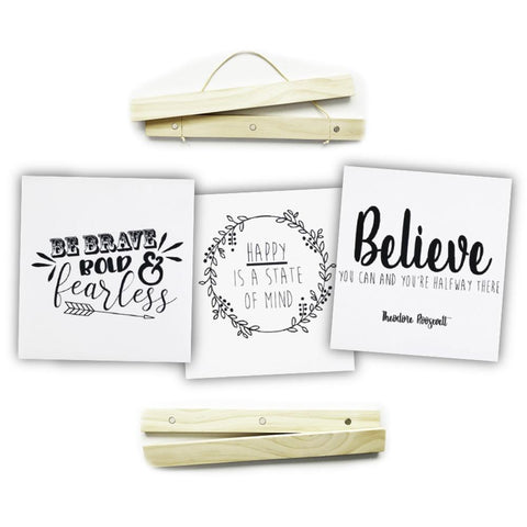 "Click Sticks  - 17"" Natural Set, 3 Prints (Be Brave, Believe, Happy)"