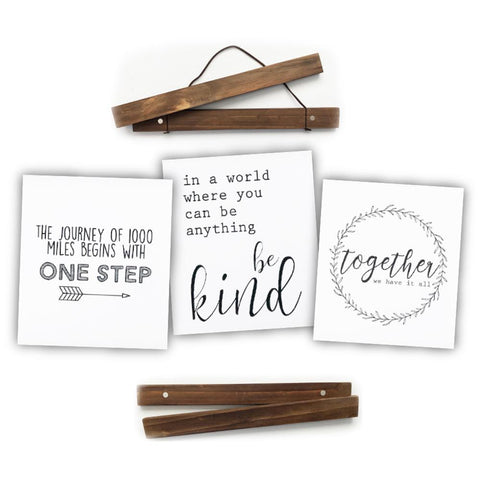 "Click Sticks  - 12"" Dark Stain Set, 3 Prints (One Step, Be Kind, Together)"