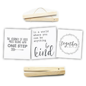 "Click Sticks  - 12"" Natural Set, 3 Prints (One Step, Be Kind, Together)"