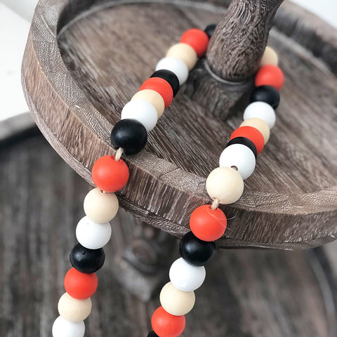 Wood Beads - Black, White, Orange, Natural