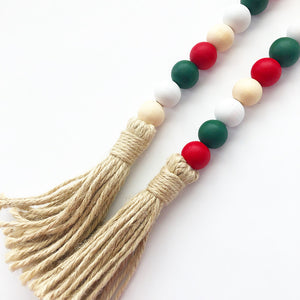 Wood Beads - Green, Red, White, Natural