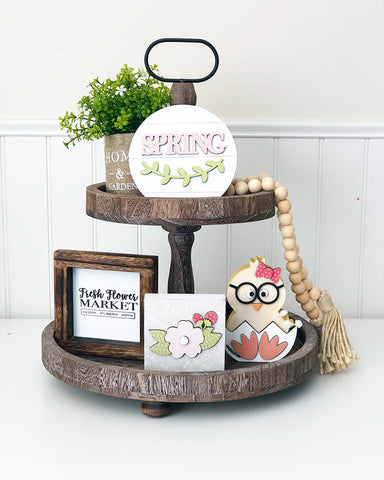 Tray Decor - Home & Garden Burlap Bag & Spring Flowers