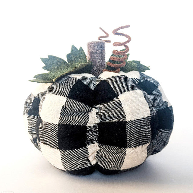 Tray Decor - Black Plaid Pumpkin