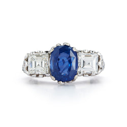AGL Certified Sapphire and Diamond Three-Stone Art Deco Ring