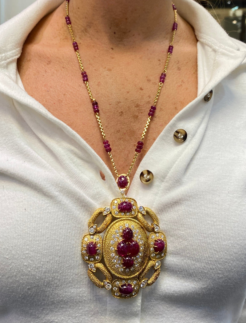 Van Cleef & Arpels Ruby and Diamond Pendant Necklace