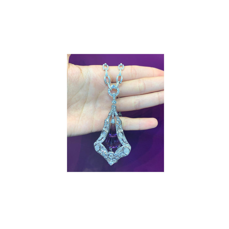 Amethyst and Diamond Drop Necklace