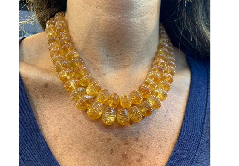Carved Citrine Two-Row Beaded Necklace