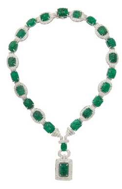 Carved Emerald and Diamond Necklace