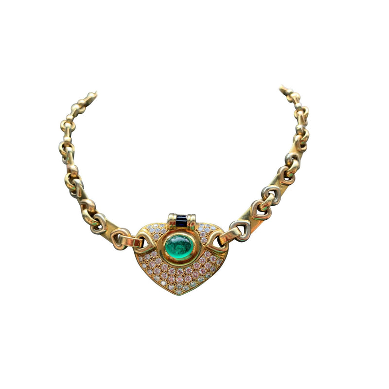 Cabochon Emerald and Diamond Necklace