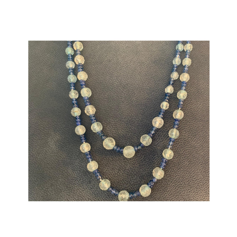 Opera Length Carved Aquamarine and Sapphire Bead Necklace