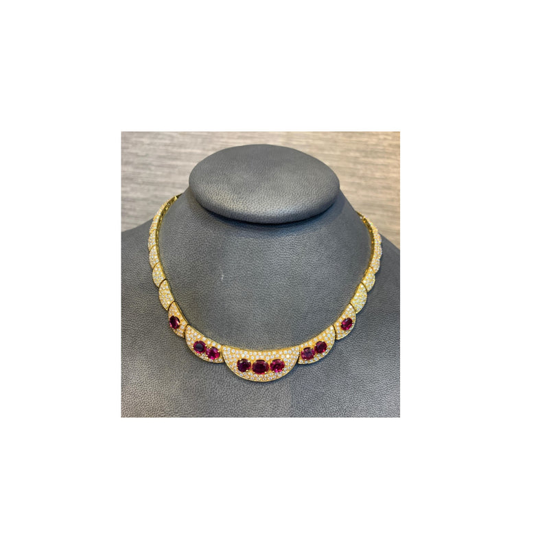Ruby and Diamond Gold Necklace
