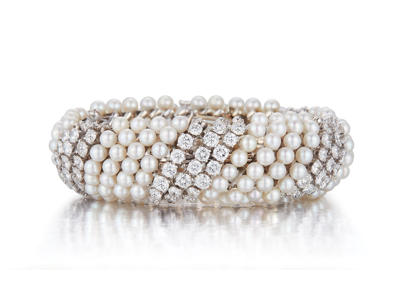 David Webb Pearl and Diamond Bracelet