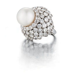David Webb Pearl and Diamond Ring