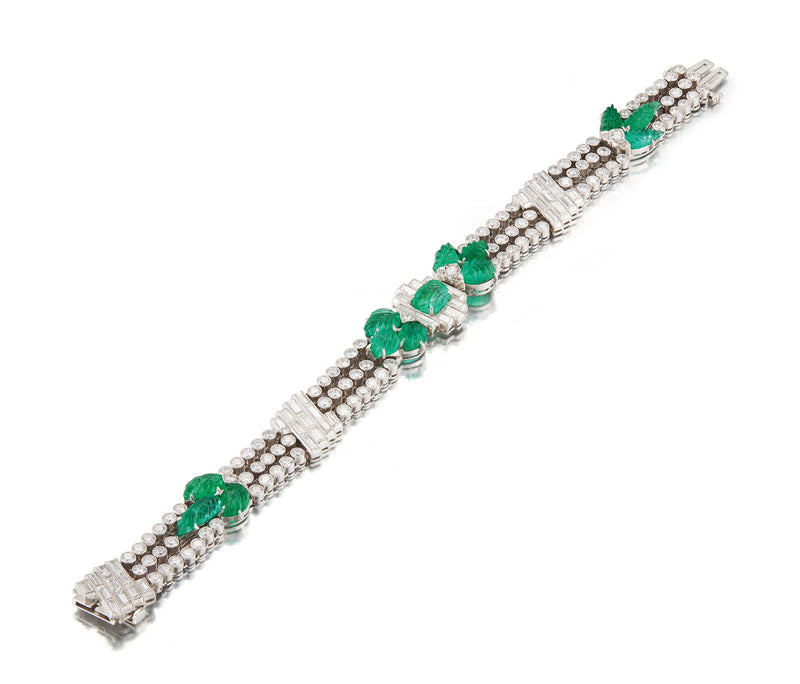 Art Deco Carved Emerald Bracelet