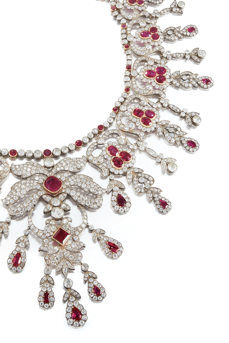 Important Unheated Burmese Ruby and Diamond necklace