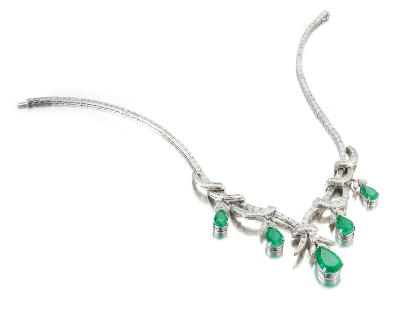 Pear Shapped Emerald Necklace