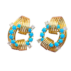 Cartier Turquoise and Diamond Earrings