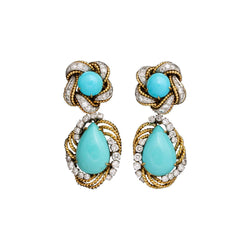 Van Cleef & Arpels Turquoise and Diamond Day and Night Detachable Earrings