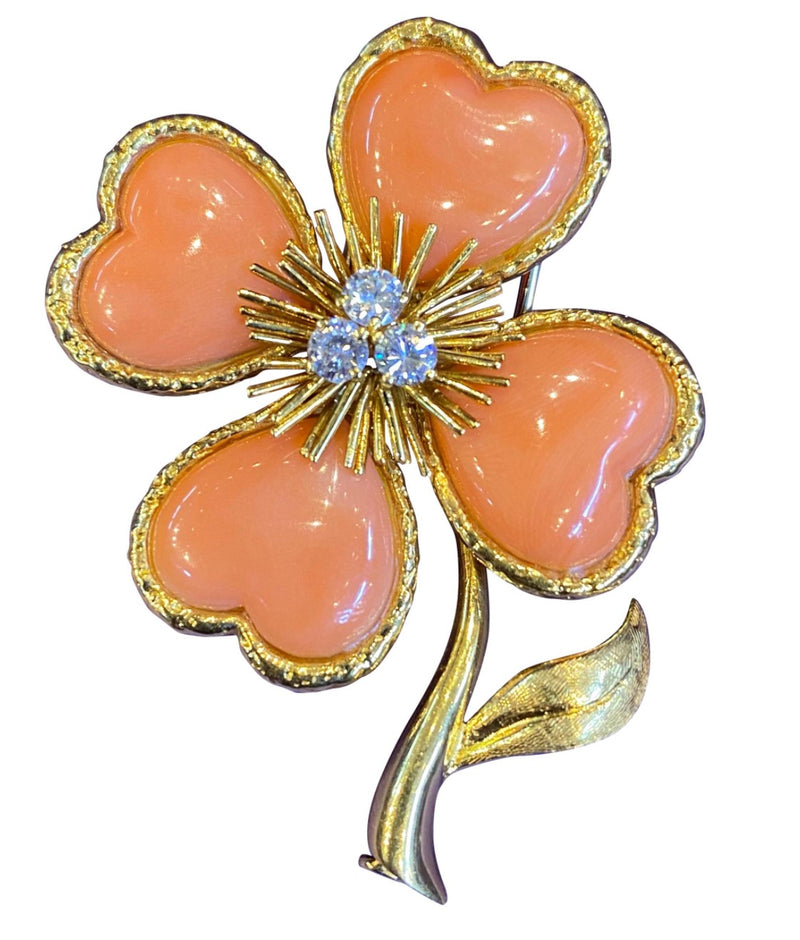 Iconic Van Cleef & Arpels Coral and Diamond Clover Brooch