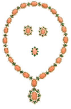 Van Cleef and Arpels Coral and Emerald Ring Earrings and Necklace Set