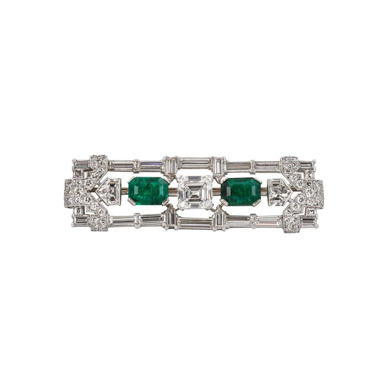 GIA Certified Art Deco Diamond and Emerald Brooch