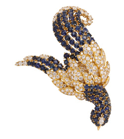 Sapphire and Diamond Bird of Paradise Brooch