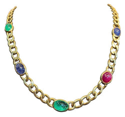 David Webb Cabochon Multi Gem Link Necklace