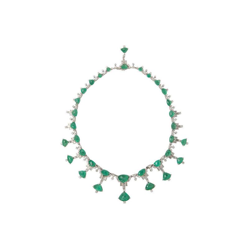 Carved Taveez Emerald and Diamond Necklace