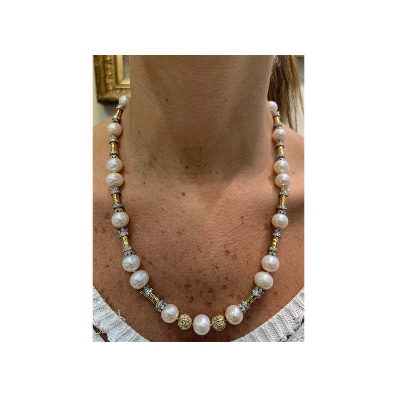 Hammered Gold and Diamond Pearl Necklace