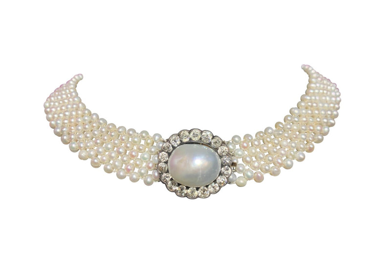 Old Mine Diamond and Pearl Mesh Necklace