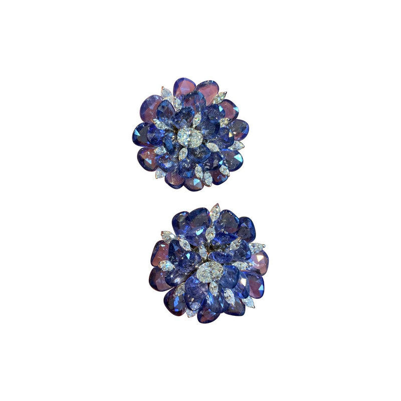 Sapphire and Diamond Floral Earrings