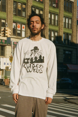 WIKI - WIK LONG SLEEVE T SHIRT BLACK ON WHITE