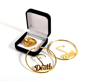 "L.U.M. ""Send Em 2 Tha Essence"" Gold Ring / FDeath Scythe 60mm Gold Hoop Earrings"