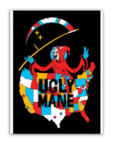 LIL UGLY MANE - 2020 TOUR ART FLOCKED BLACKLIGHT POSTER