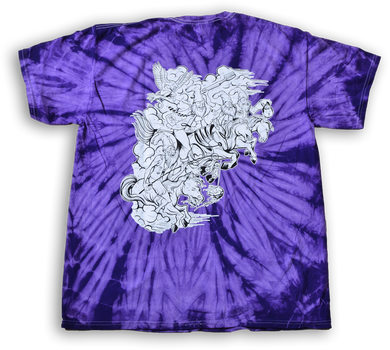 Vermin Supreme Short Sleeved Purple Tie-dyed shirt with illustration by DeathMask