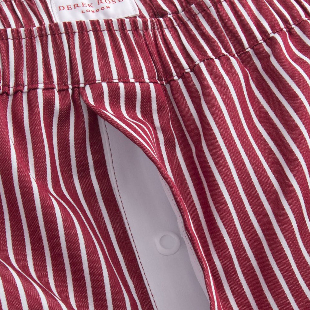 Men's Modern Fit Cotton Boxer Shorts - Striped Red