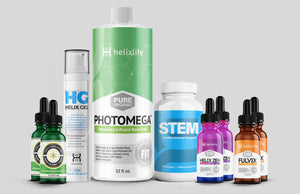 Launch 2020 Promo Pack #1 includes 1 Photomega, 2 Lucky Hemp Drops, 2 Zen, 2 Fulvix,  STEM and 1 Helix Gel.